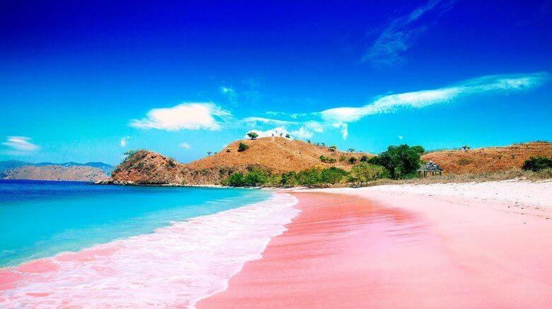 ساحل با شن های صورتی,ساحل صورتی اندونزی,ساحل صورتی رنگ,